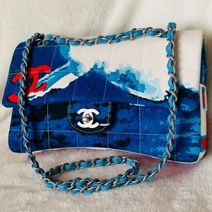 RARE!!! CHANEL Quilted Surf Multicolor Flap Bag